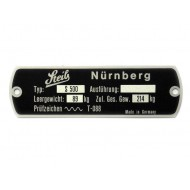 Vehicle identification plate Steib S500