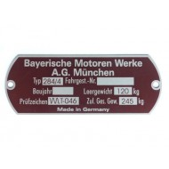 Vehicle identification plate BMW Spezial TR500