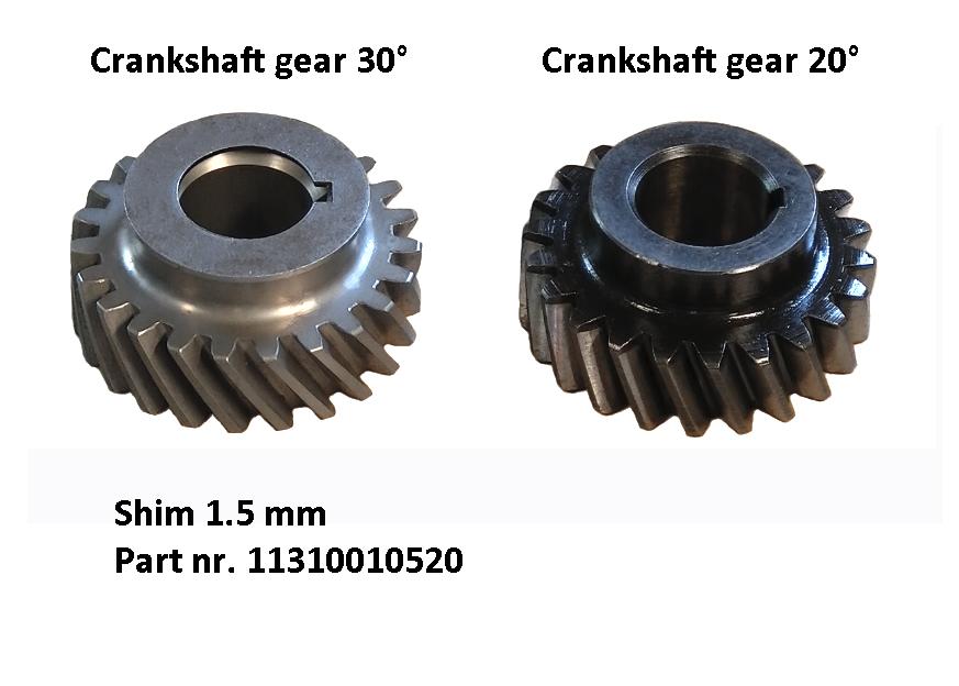 Shim for crankshaft gear 30°